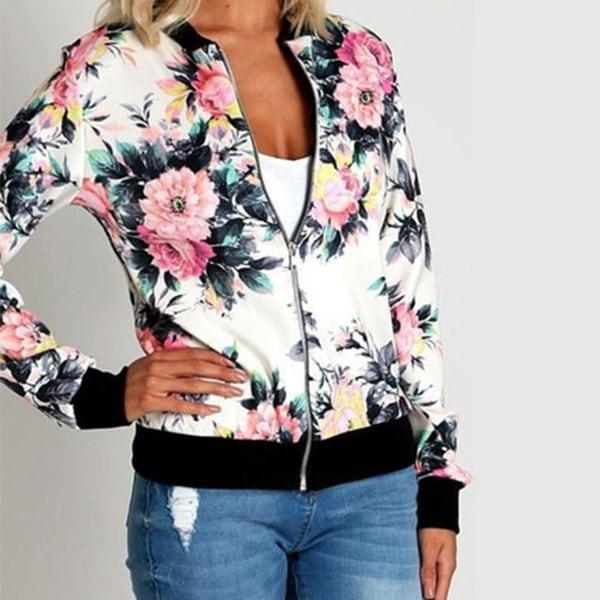 秋冬女性レディースロングスリーブバイカーショートコートジャケットは、花のプリントジップトップアウトウェアSをバラ