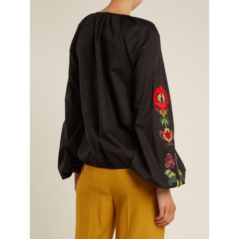 ステラジーン レディース トップス ブラウス・シャツ【Floral-embroidered stretch-cotton blouse】Black