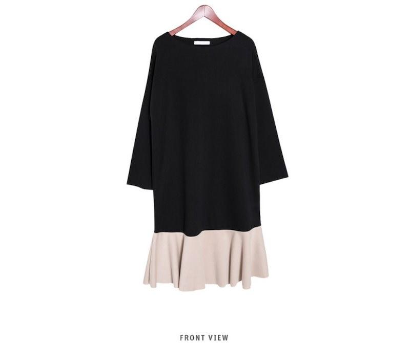 『韓国製』SELLISHOP  Tone フリル ワンピース「大きいサイズ 大人 韓国 ファッション・結婚式・フォマール 黒 フレア 30代 40代 50代 スレンダー・Aライン,シャツ・上品・ロング