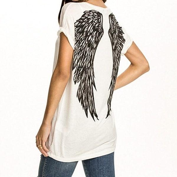 2色女性パンククールバックエンジェルウィングスプリントコットンTシャツ