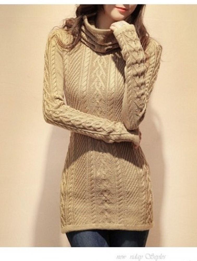 ☆大人可愛い☆スリム タートルネック ロング セーター 秋冬 5色 ※納期に10日から14日ほどかかります。