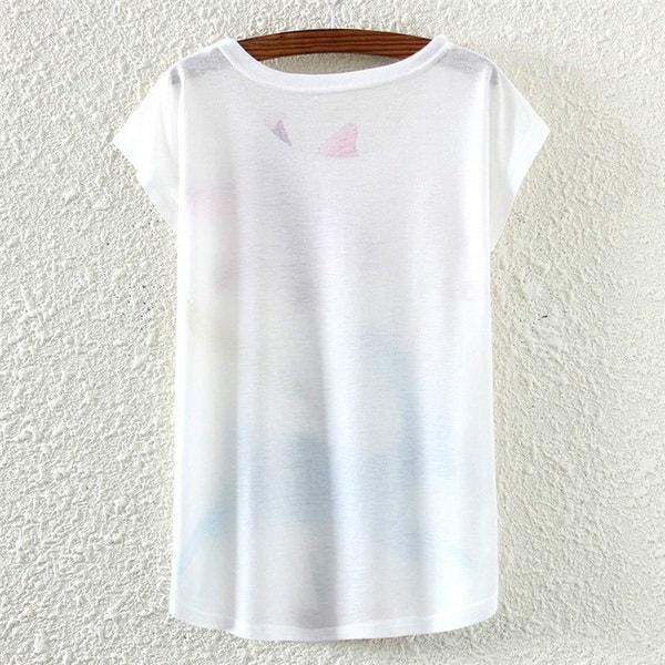レディースファッションプラスサイズバットスリーブコットンTシャツフェアリープリントボートネックトップスTシャツ