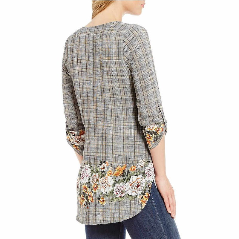 ボボウ レディース トップス ブラウス・シャツ【Bobeau Petites Floral & Plaid Print V-Neck Roll-Tab Sleeve Top】Grey Print
