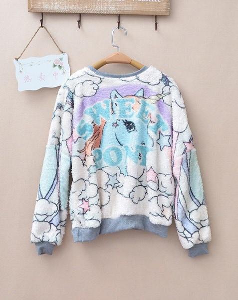 カラフルな雲&ユニコーンプリントふわふわのスウェットシャツ