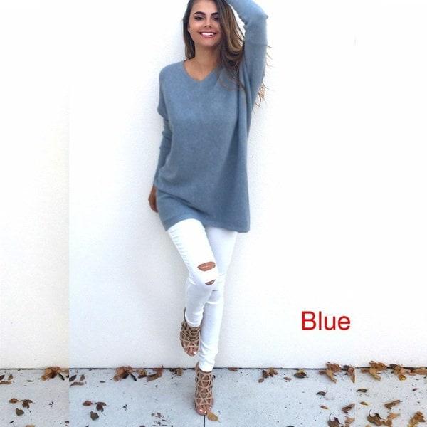 ファッション秋の冬の服レディースVネックルースニットオーバーサイズのバギーセータージャンパートップスドレス