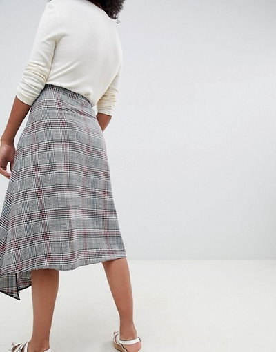 エイソス レディース スカート ボトムス ASOS DESIGN houndstooth print midi skirt with asymmetric hanky hem