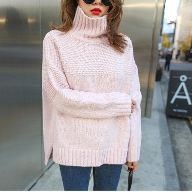 キャンディハイネックポーラニットティーピンクそらデイリールックデイリーバックkorea women fashion style