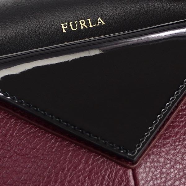 FURLA BAK7-727375フルラ ハンドバッグ レザーワインレッド×ブラック