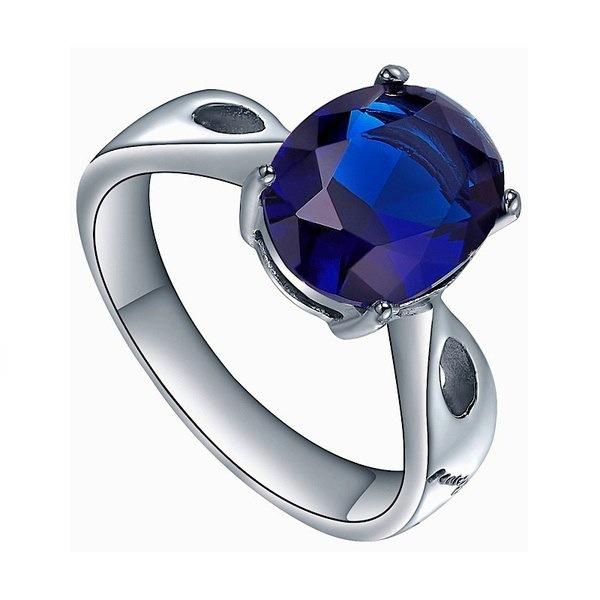 ステンレス鋼オーバルブルーキュービックジルコニアソリティアレディスエンゲージメント結婚指輪