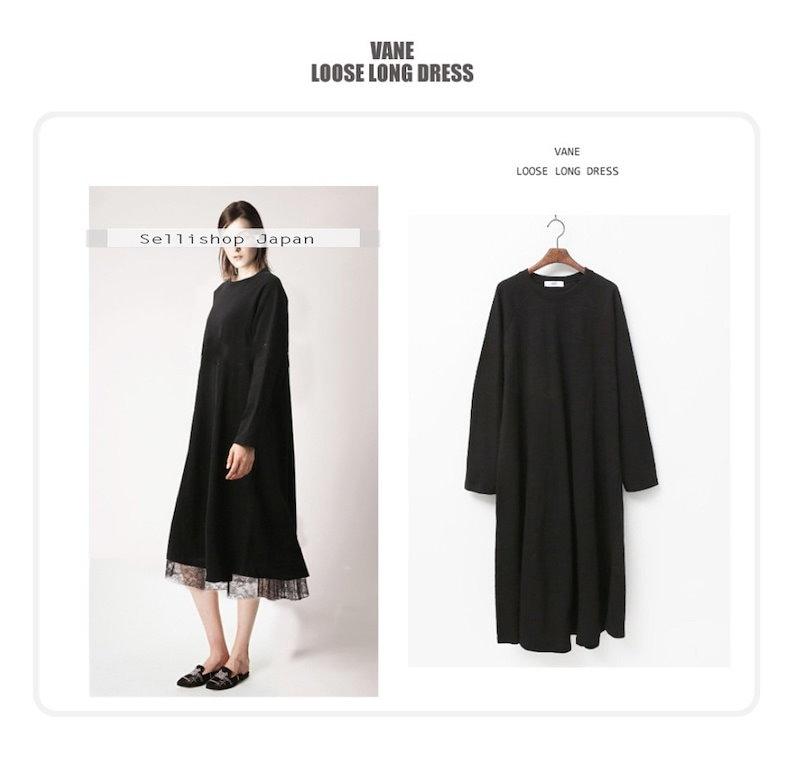 『韓国製』SELLISHOP  Loose long ワンピース --「大きいサイズ 大人 韓国 ファッション・結婚式・フォマール 黒 フレア 30代 40代 50代 スレンダー・Aライン,シャツ・上