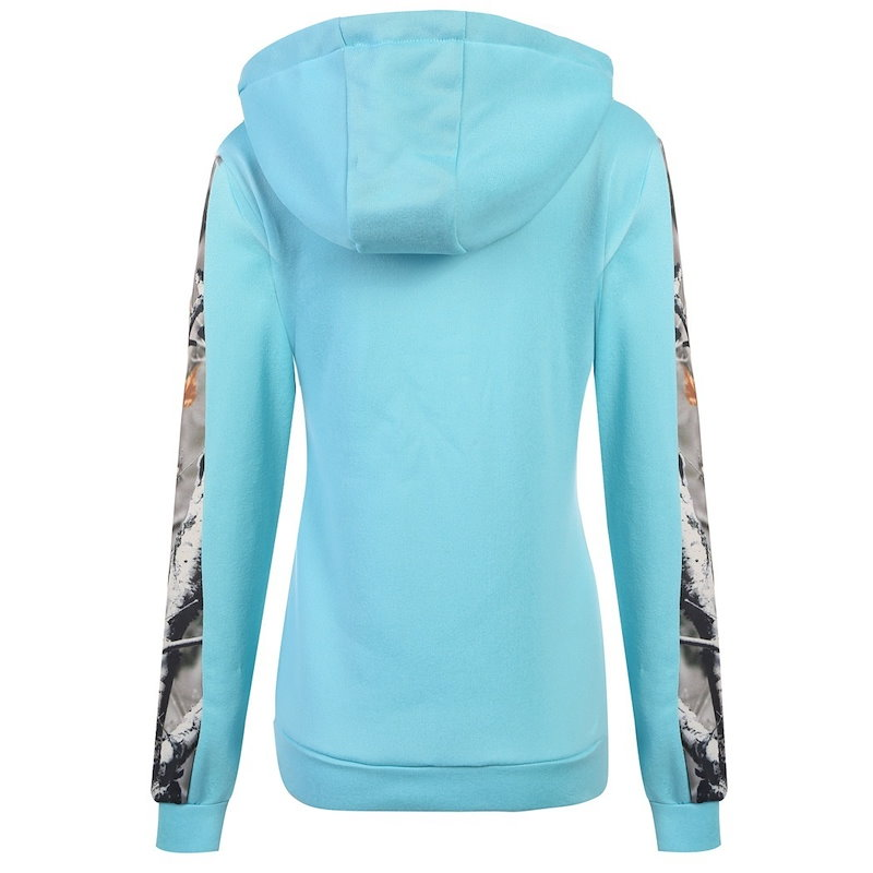 女性長袖パッチワークフード付きスエットシャツプルオーバーパーカウォームコート