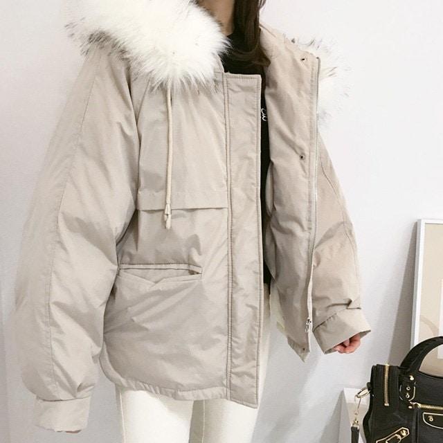 [Minsshop] Oh pretty fur hood padding Korean fashion style