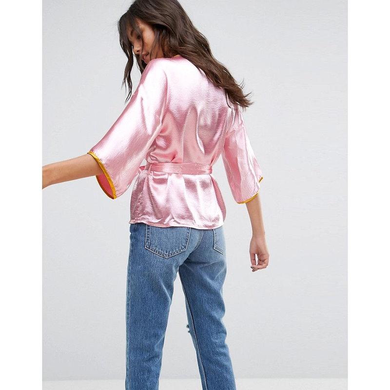グラマラス レディース トップス【Glamorous Wrap Front Kimono Top In Satin With Floral Embroidery】Pink