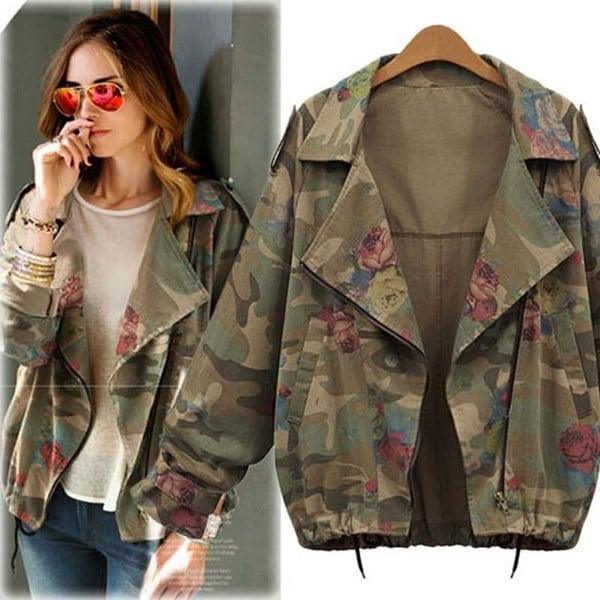 Women Jackets Army Green Camouflage Coat Zipper Cardigans Denim Outwear Coats