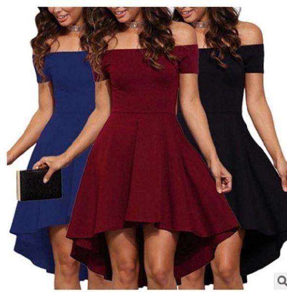 2017女性ファッション不規則なセクシーなスリム半袖スプライシングソリッドカラードレスレイジスケータードレス