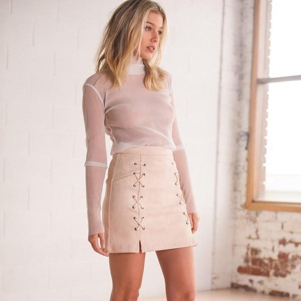 女性ファッションルースかわいいレースロングスリーブチュニックトップブラウス