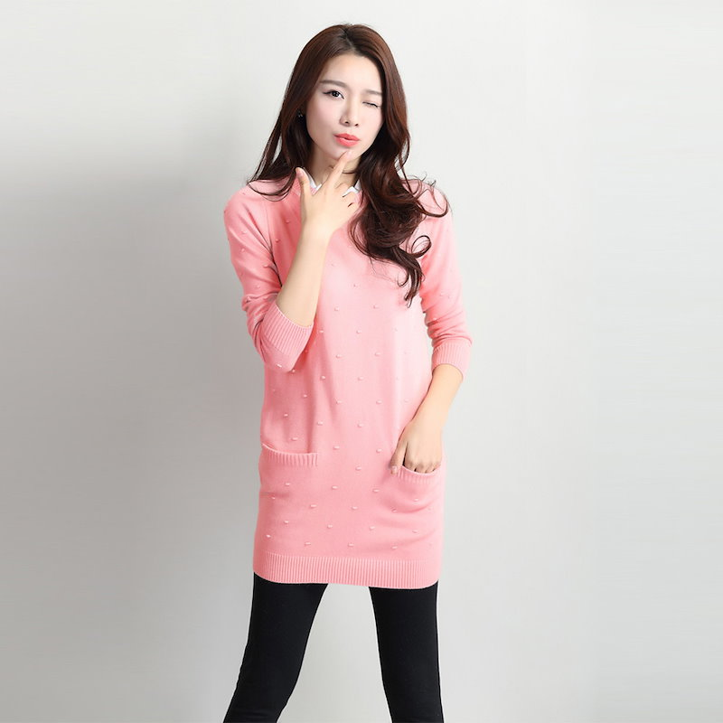 Causal Fashion Pleated Stand Collar Dots Long Sleeve Pullover Sweater