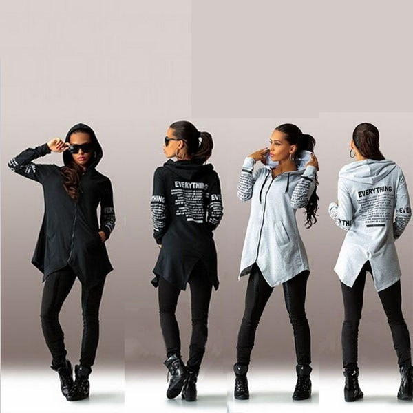 2016 Women s Fashion Sexy Autumn Letter  Printed Big Size Sweater Zippered Hooded Coat