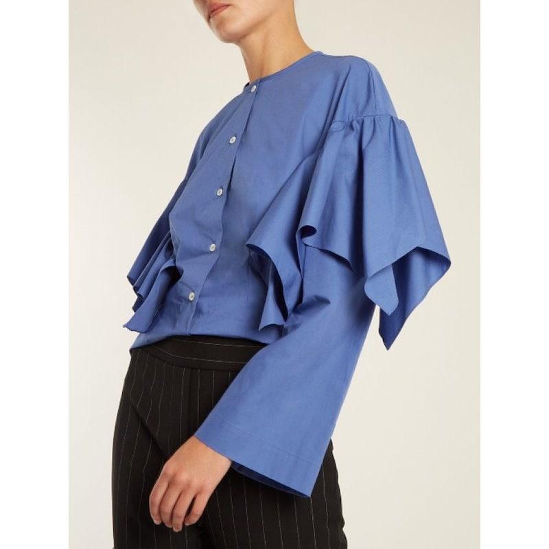 サラ バッタリア レディース トップス ブラウス・シャツ【Collarless ruffled cotton shirt】Cornflower-blue
