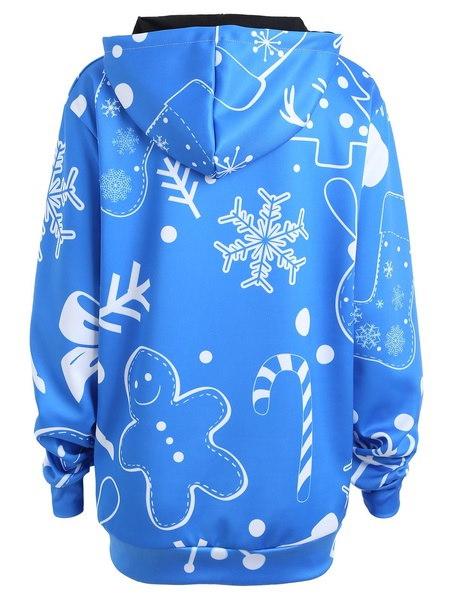 プラスサイズのクリスマスサンタクロースプリントパーカーの女性の長袖ルーズプルオーバースウェットシャツ