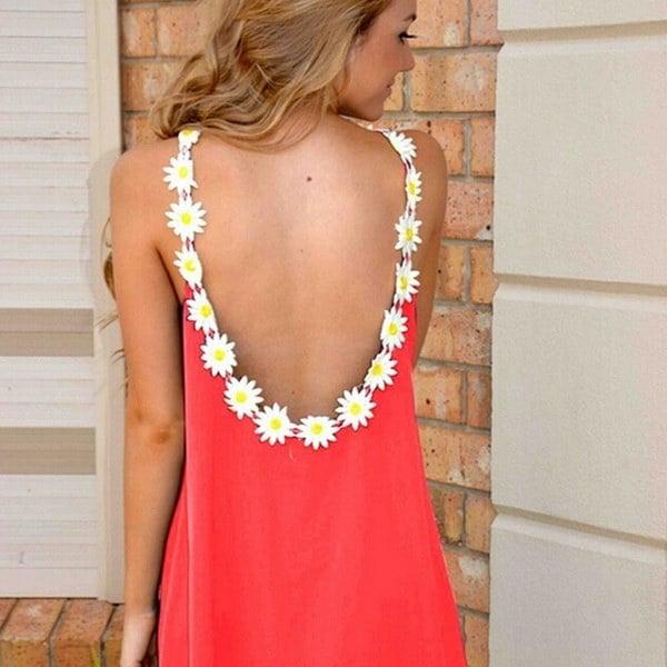 エレガントな花のストラップの襟のルーズパーティードレスの女性セクシーなバックレスVestidosミニドレス