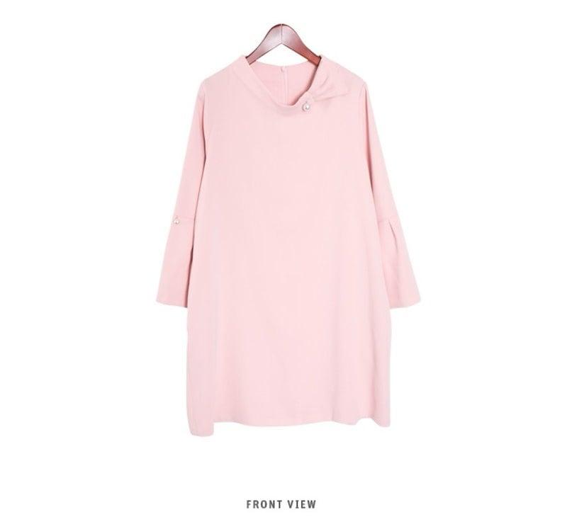 『韓国製』SELLISHOP  Pearl リボン ワンピース「大きいサイズ 大人 韓国 ファッション・結婚式・フォマール 黒 フレア 30代 40代 50代 スレンダー・Aライン,シャツ・上品・ロン