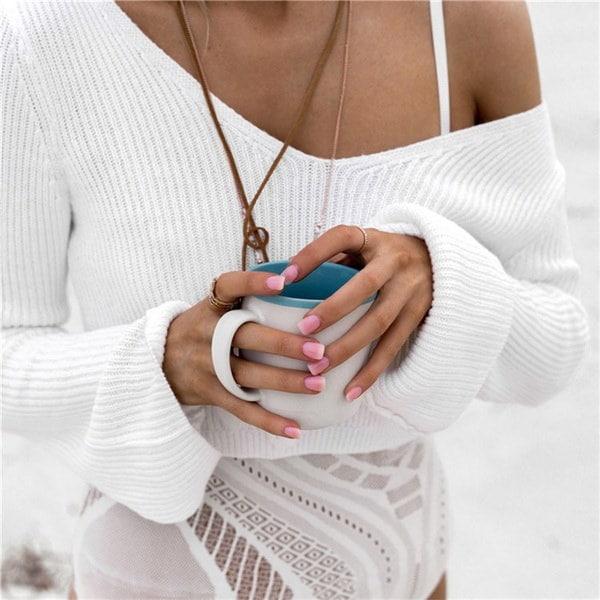 女性ファッションロングスリーブセクシーなVネッククロップトップセーターニットウェアプルオーバー