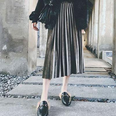 韓国ファッション 春 韓国 きれいな5色 簡単コーディネート プリーツベロアスカート ミモレ丈