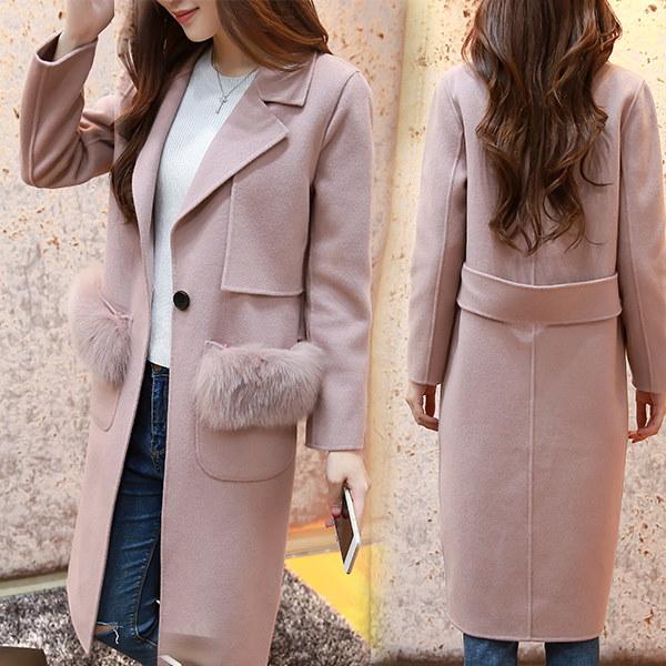 (55555SHOP)韓国ファッション★]コート★本物のキツネの毛皮のポケットウールコート最高級品質の極!★ベスト新登場★ハイクォリティ