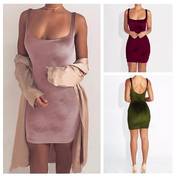 女性ファッションセクシーなノースリーブバックレスVネックワンピース包帯ドレスゴールドベルベットドレス3色