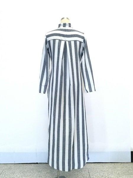 秋ロングスリーブディープVネックスタイリッシュなストライプウォーカーシャツドレス