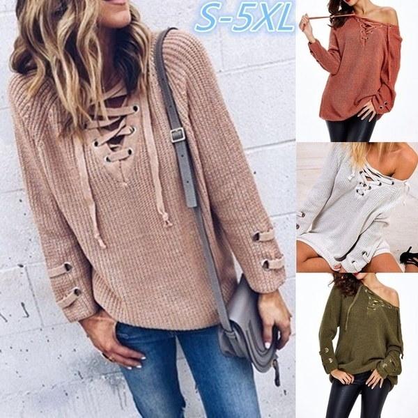 ファッション女性ピュアカラーVネックロングスリーブ包帯ニットセーター