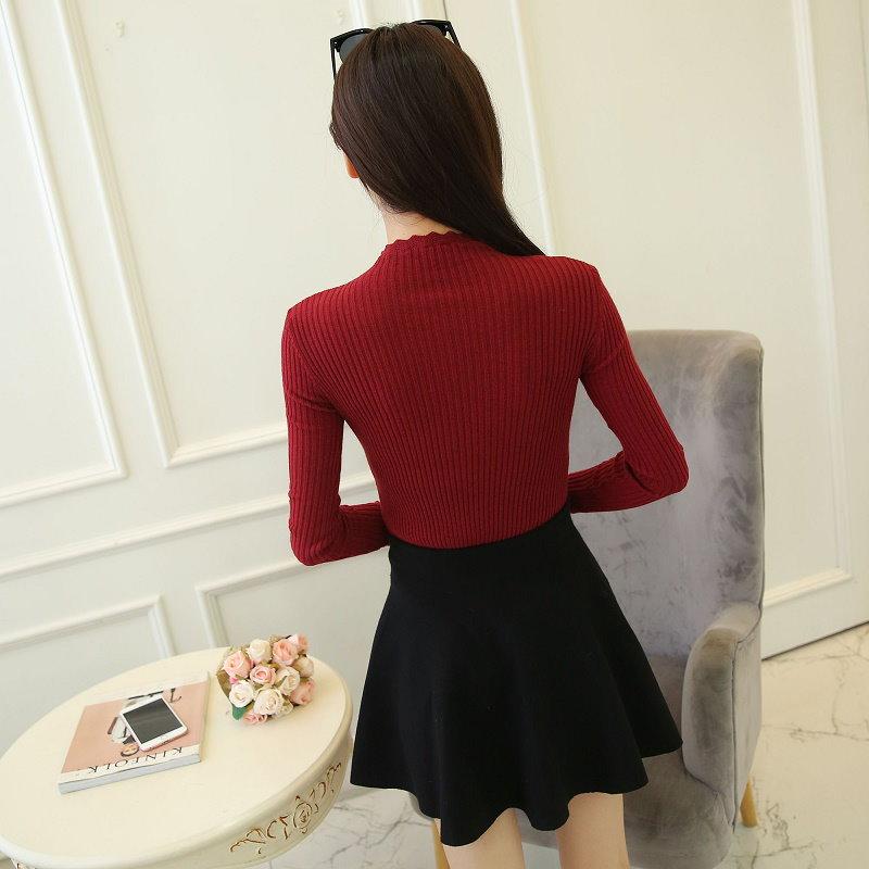 RED-SUGAR 新型韓女装秋服セットの頭を百搭長袖ニットシャツ修身半タートルネック女潮