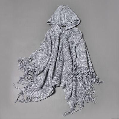 セーター フード付き スリム ポンチョ スーパーファミリー タッセル ウール 長袖