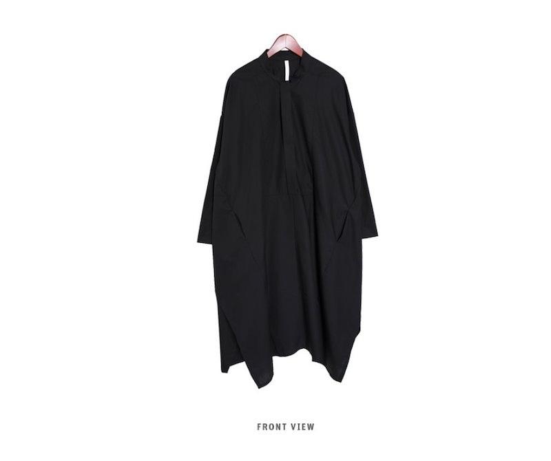 『韓国製』SELLISHOP  Glory シャツ ワンピース -「大きいサイズ 大人 韓国 ファッション・結婚式・フォマール 黒 フレア 30代 40代 50代 スレンダー・Aライン,シャツ・上品・