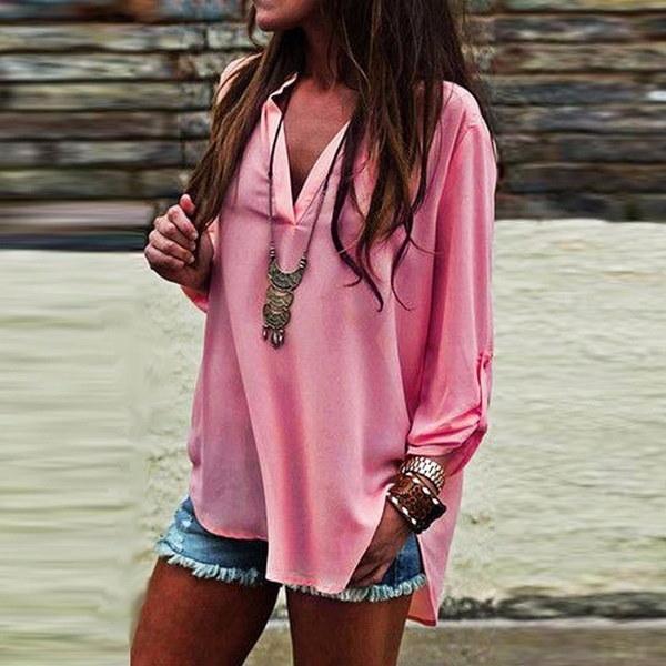5色のサイズS-5XL女性オーバーサイズブラウス長袖ディープVネックトップルーズカジュアルシフォンTシャツ
