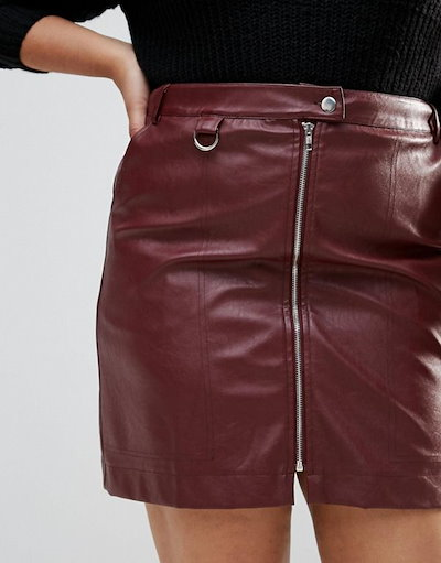 Fashion Union  レディース 大きめサイズ ゆったりサイズ  送料無料 Burgundy Plus Mini Skirt In Faux Leather With Zip Detail