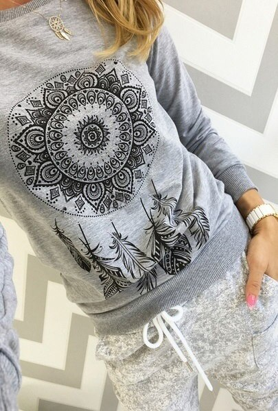Fashion Design Long Sleeve Print Tops Spring/autumn Round Neck Casual Slim Pullovers