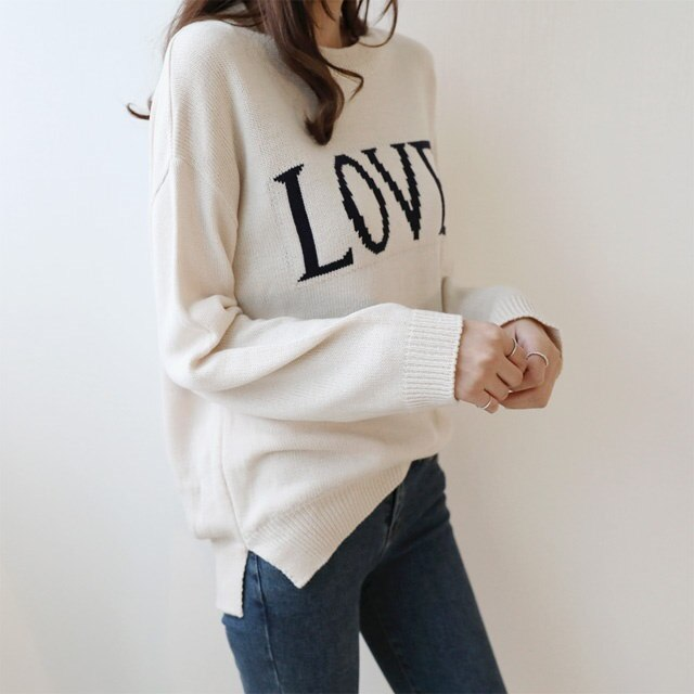 [Dimming] Lettering Round Neck Knit 4 Color Top Knit Fall Knit English Knit Rouge Knit