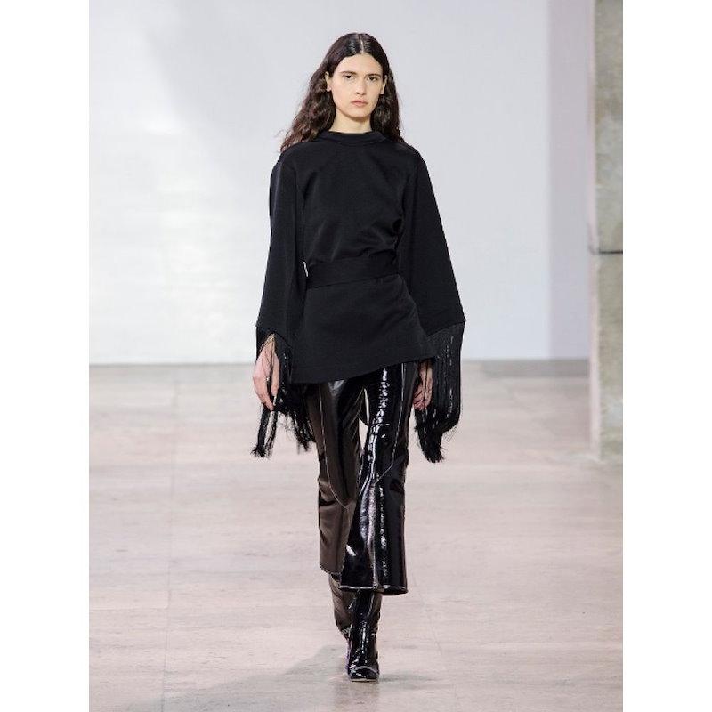 エラリー レディース トップス【Lottery round-neck tassel-embellished top】Black