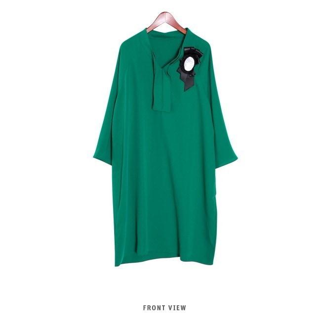 『韓国製』SELLISHOP 【ブローチセット】 Anders ワンピース「大きいサイズ 大人 韓国 ファッション・結婚式・フォマール 黒 フレア 30代 40代 50代 スレンダー・Aライン,シャツ