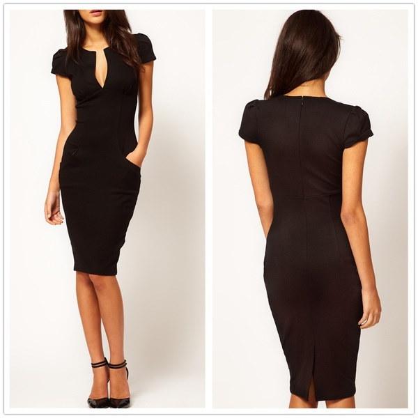 新しいファッション女性セクシーなVネックペンシルドレス女性スリム膝丈ポケットパーティーBodycon OLドレスを働く