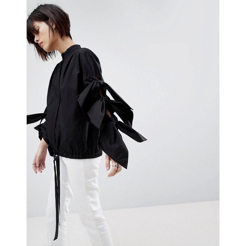 エイソス レディース トップス【ASOS WHITE Extreme Bow Sleeve Top】Black