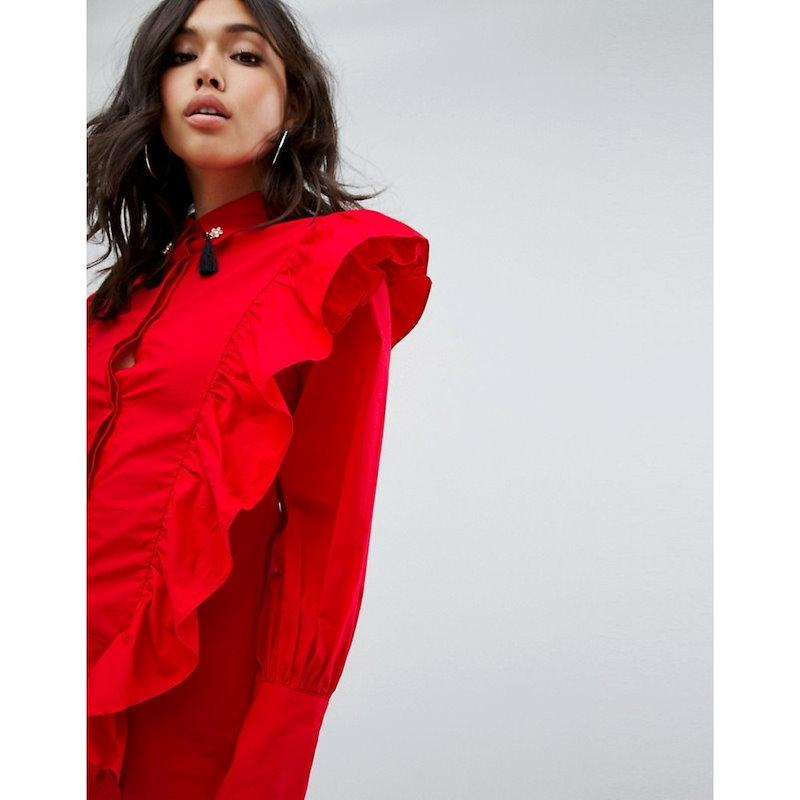 ブーフー レディース トップス ブラウス・シャツ【Boohoo Ruffle Shirt With Tassel Collar】Red