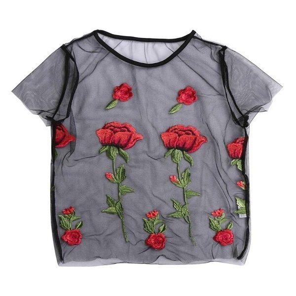 Women s Fashion Tops Roses Flowers Embroidery Net Shapes Short Sleeve T-shirt