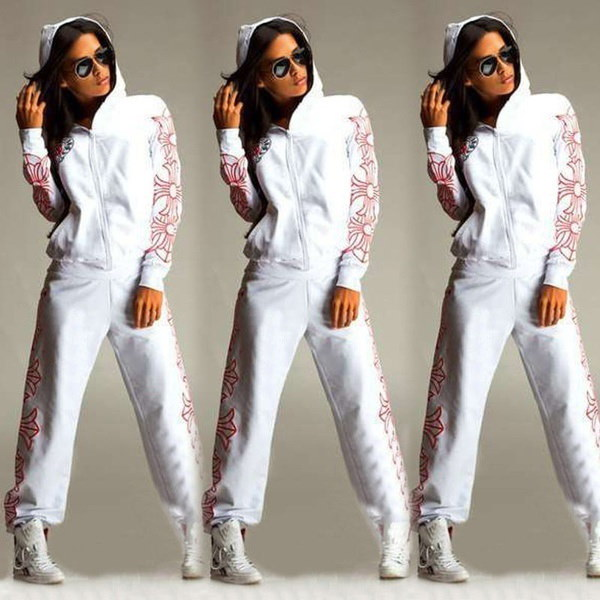 ファッション女性のスポーツウェアアスレチックのスウェットパンツパーカーパーカースーツトラックスーツの服装セット