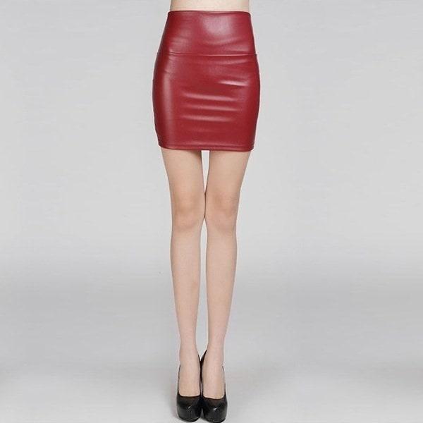 セクシーな女性PUレザーハイウエスト鉛筆ボディコンミニドレスショートスカートブラック
