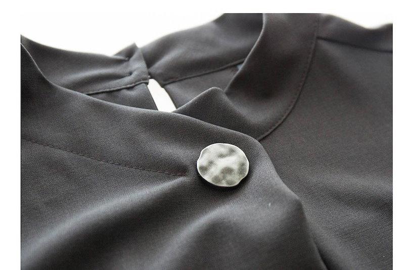 『韓国製』SELLISHOP  Moskin ワンピース「大きいサイズ 大人 韓国 ファッション・結婚式・フォマール 黒 フレア 30代 40代 50代 スレンダー・Aライン,シャツ・上品・ロング ミ