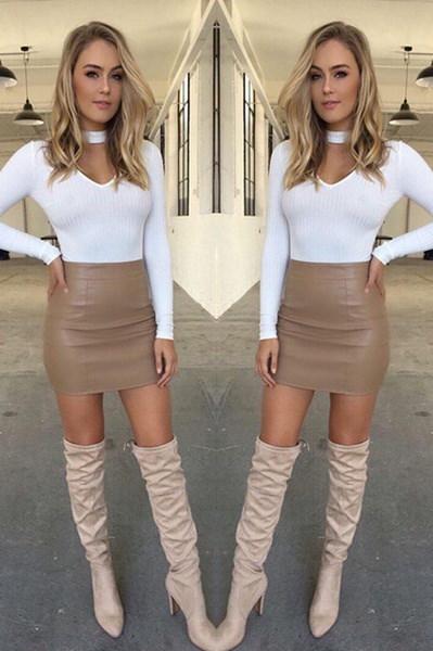 ボギー女性セクシーなバンドジ革のスカートハイウエスト鉛筆ボディコンショートミニスカートドレス