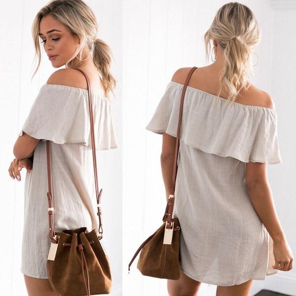 Women Summer Ruffles Vintage Loose Shoulder Off Casual Mini Dress